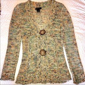 BCBG Multi Colored Boho Fringe Sweater